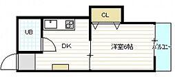 広島県広島市中区吉島町の賃貸マンションの間取り