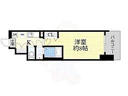 Osaka Metro御堂筋線 大国町駅 徒歩1分の賃貸マンション 13階1Kの間取り