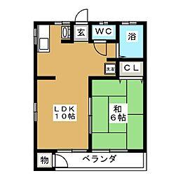 上アパート[2階]の間取り
