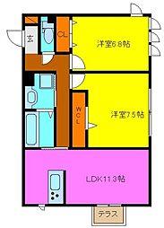 d−room玉串町西[1階]の間取り