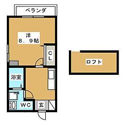柳作アパート 2階1Kの間取り