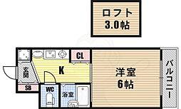 エステムコート難波WEST-SIDE大阪ドーム前 3階1Kの間取り