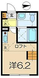 神奈川県横浜市南区永田南1の賃貸アパートの間取り