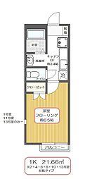 東京都江戸川区鹿骨4丁目の賃貸アパートの間取り