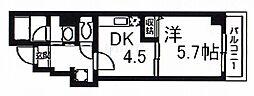 ワイズコート 4階1DKの間取り