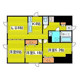 北海道札幌市東区北三十四条東17丁目の賃貸アパートの間取り