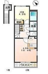 (仮名)園部町小山東新築アパート[202号室号室]の間取り