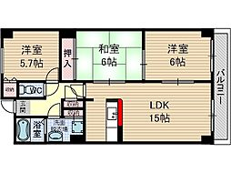 グローバルサイト茨木[6階]の間取り