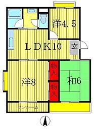ニュー松戸コーポA棟[3階]の間取り