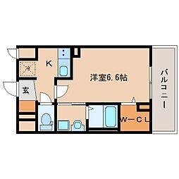 近鉄奈良線 新大宮駅 徒歩3分の賃貸マンション 8階1Kの間取り