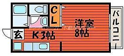 JR吉備線 備前三門駅 徒歩13分の賃貸アパート 2階1Kの間取り