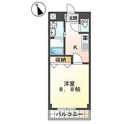 大塚新築アパート(仮) 2階1Kの間取り