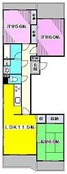 ガーデンフレアA[3階]の間取り