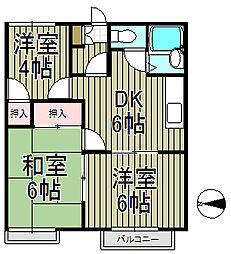 大地原ハイツI[2階]の間取り