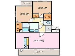 三重県四日市市ときわ4丁目の賃貸マンションの間取り