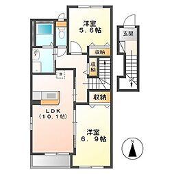 (仮称)日立市田尻町新築アパート[205号室]の間取り