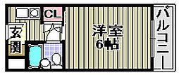 ユニデンス貝塚[309号室]の間取り