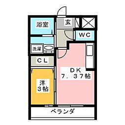 仮)D-room舳越 1階1DKの間取り