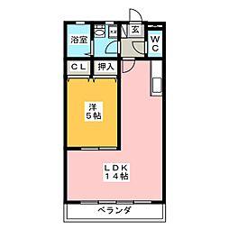 岐阜県岐阜市須賀4の賃貸アパートの間取り