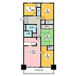 バンベール芝田 604号室[6階]の間取り