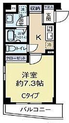 比留間ビル 2階1Kの間取り