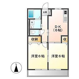 岡山県倉敷市中帯江の賃貸アパートの間取り