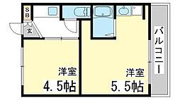 兵庫県神戸市長田区雲雀ヶ丘3丁目の賃貸マンションの間取り