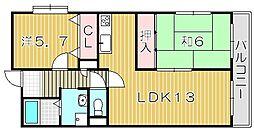 大阪府吹田市岸部中3丁目の賃貸マンションの間取り