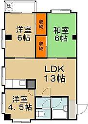 JR横須賀線 新川崎駅 徒歩19分の賃貸マンション 3階3LDKの間取り