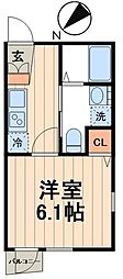 東京メトロ東西線 門前仲町駅 徒歩7分の賃貸マンション 2階1Kの間取り