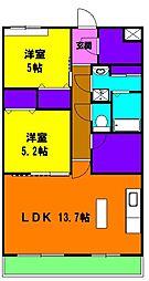 静岡県浜松市浜北区中瀬の賃貸マンションの間取り