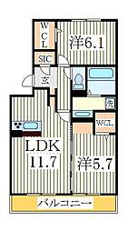 パーク根郷[1階]の間取り