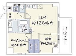 ウッドリバー新大阪[602号室]の間取り