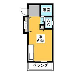 メゾン各務 2階ワンルームの間取り