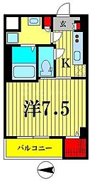 東武亀戸線 小村井駅 徒歩6分の賃貸マンション 2階1Kの間取り