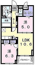 グランクレスタ 2階2LDKの間取り