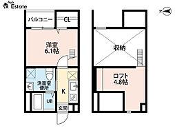 名古屋市営東山線 中村公園駅 徒歩7分の賃貸アパート 1階1SKの間取り