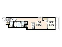 月光江波東四番館 2階1LDKの間取り