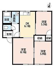 福岡県北九州市小倉北区富野台の賃貸アパートの間取り