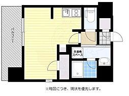 西鉄天神大牟田線 西鉄平尾駅 徒歩15分の賃貸マンション 4階ワンルームの間取り