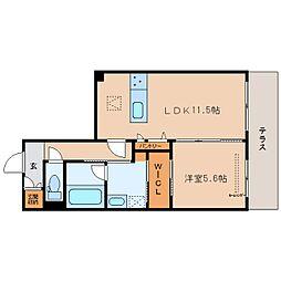 JR関西本線 大和小泉駅 徒歩5分の賃貸マンション 1階1LDKの間取り
