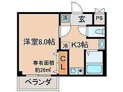 京都府京都市伏見区醍醐高畑町の賃貸マンションの間取り