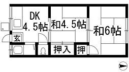 大阪府箕面市瀬川5丁目の賃貸アパートの間取り