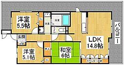 レオン住道[8階]の間取り
