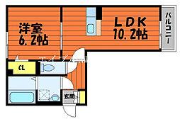 ル・シェル中庄I 2階1LDKの間取り