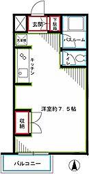西武国分寺線 恋ヶ窪駅 徒歩10分の賃貸マンション 3階ワンルームの間取り