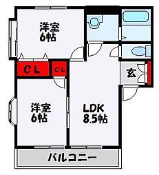 コーポ誠B 2階2LDKの間取り