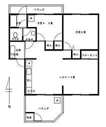 山口ハイム[1階]の間取り