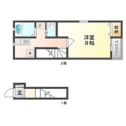 JR山陽本線 東岡山駅 徒歩12分の賃貸アパート 2階1Kの間取り