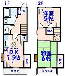 [テラスハウス] 千葉県市川市柏井町2丁目 の賃貸【/】の間取り